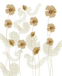弧形线条花朵移门装饰画