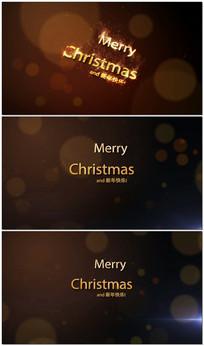 金色粒子字圣诞节视频模板 aep