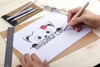 原创简约手绘卡通猫LOGO CDR