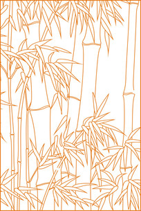 竹子勾线移门图案