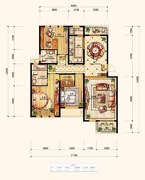 PSD分层住宅户型填彩平面图 PSD