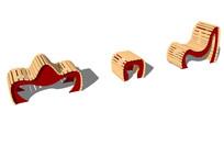 创意景观木质坐凳su模型