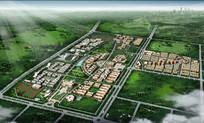 大学校园景观规划鸟瞰图