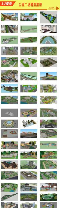 广场文化建筑景观模型 skp
