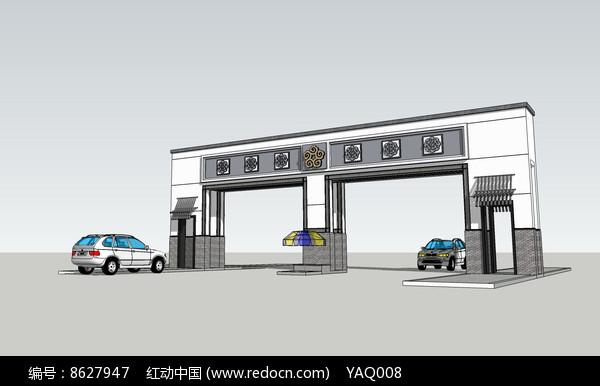 新中式简洁大门SU图片
