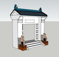 中式门SU模型