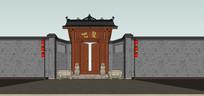 中式庭院餐厅大门