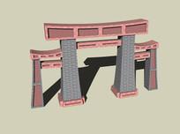 中式砖砌大门