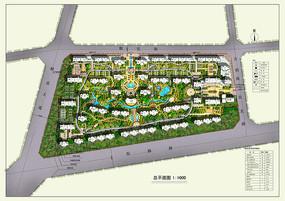 PSD小区规划彩平总图填彩