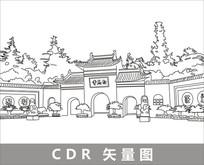 白马寺线描装饰图片 CDR