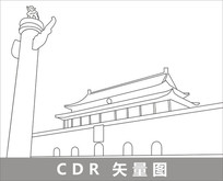 北京天安门线描装饰图片 CDR