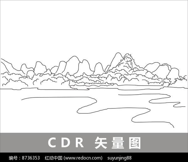 桂林的山水线描装饰图片图片