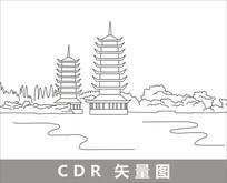 桂林日月塔线描装饰图片 CDR