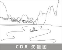 桂林山水线描装饰图片