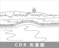 杭州西湖线描装饰图片 CDR