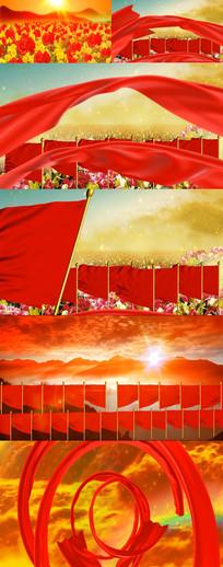 红旗祖国河山黄河绸带大气开场