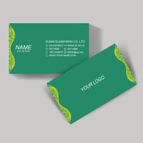 简洁绿色花纹名片设计