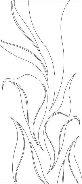 简约抽象叶子雕刻图案