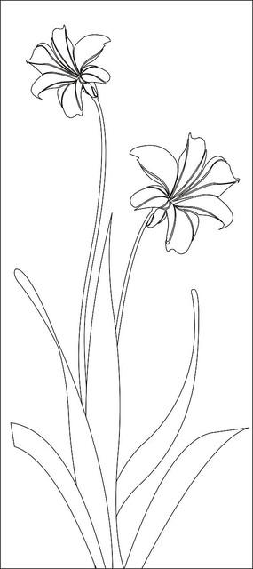 简约两朵水仙花雕刻图案