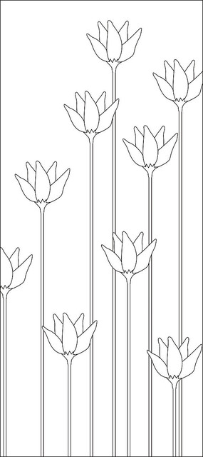 简约直杆花朵雕刻图案