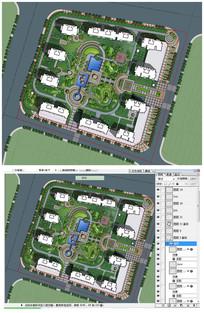 精细住宅小区彩色平面图PSD