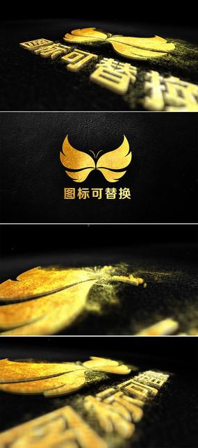 金色粒子风沙吹拂标志揭示模板