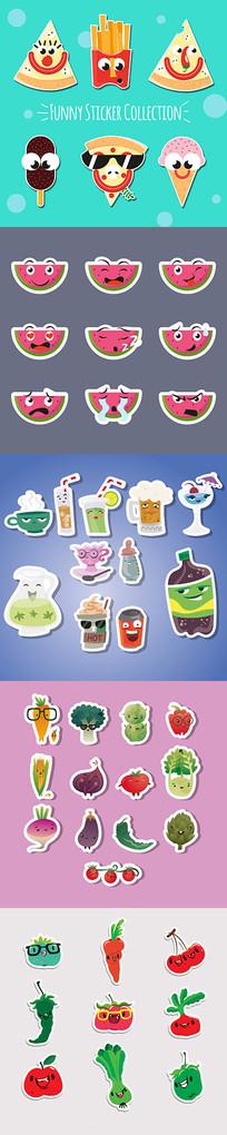 卡通笑脸蔬菜水果贴纸素材