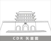凉州古城线描装饰图片 CDR
