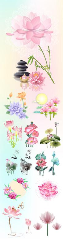 莲花传统中国元素素材 AI