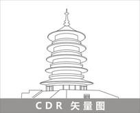 洛阳明堂线描装饰图片 CDR