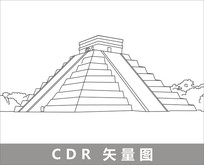 玛雅金字塔线描装饰图片