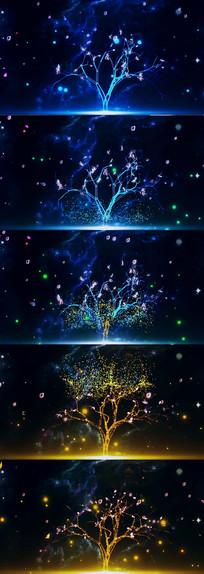 梦幻荧光蝴蝶花瓣粒子飞舞大树