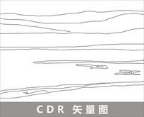 内蒙呼伦贝尔草原线描装饰图片 CDR