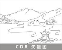 秦皇岛线描装饰图片 CDR