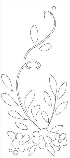 三朵小花藤蔓雕刻图案