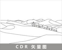 沙漠驼铃线描装饰图