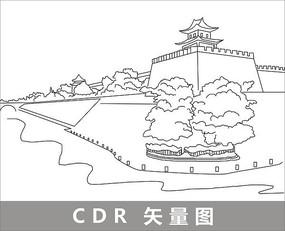 西安城墙手绘图_西安手绘图图片