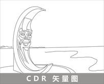 烟台月亮湾线描装饰图片 CDR