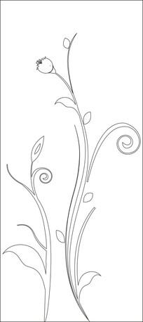 一枝花骨朵雕刻图案