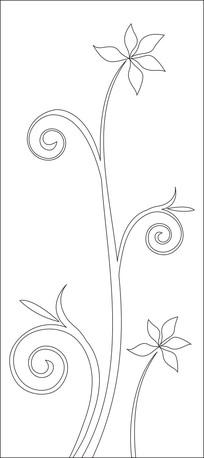 一枝五片花瓣的花朵雕刻图案