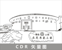 永定客家土楼线描装饰图片 CDR