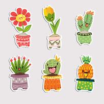 有趣的笑脸植物贴纸图案