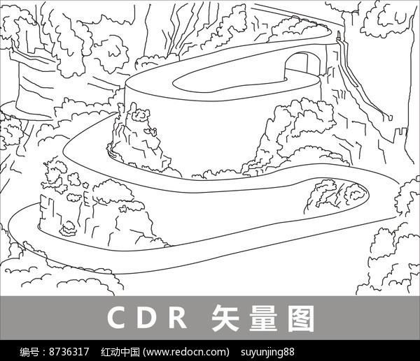 张家界土家风情园线描装饰图片图片