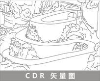 张家界土家风情园线描装饰图片