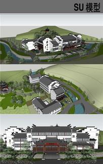 禅茶院寺院古建模型 skp