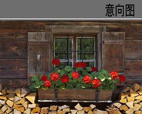 建筑小镇风格窗口