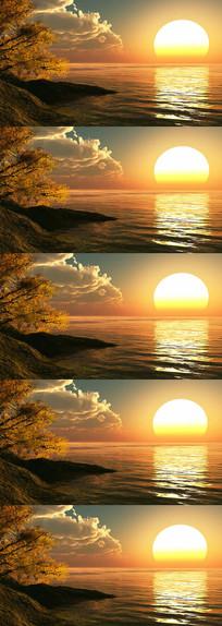 太阳映射海面水面荡漾唯美风景视频 mp4