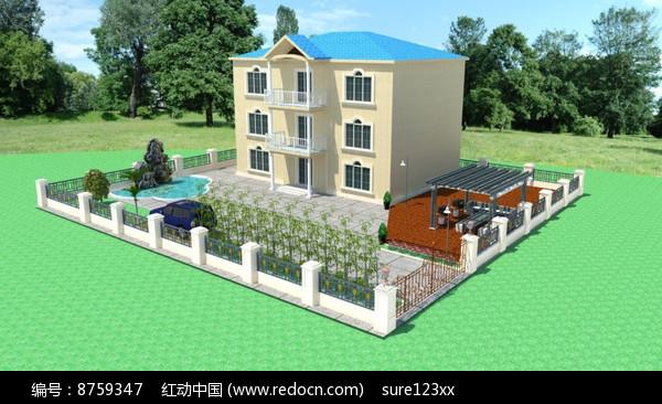 乡村别墅su模型效果图图片