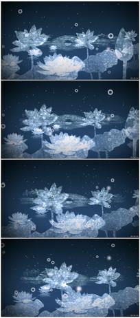 中国风水墨池塘荷叶荷花视频模板