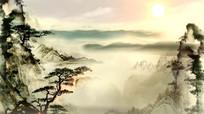 中国风水墨山水画背景视频
